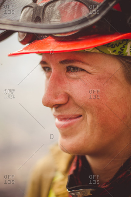 Alberta, British Colombia, Canada - July 16, 2015: Portrait of female Panorama Crew Services member smiling, Alberta, British Colombia, Canada