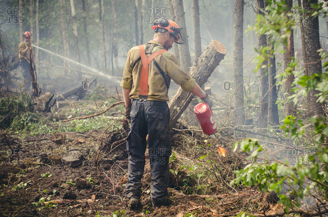Alberta, British Colombia, Canada - July 16, 2015: Rear view of member of Panorama Crew Services pouring liquid onto flames, Alberta, British Colombia, Canada