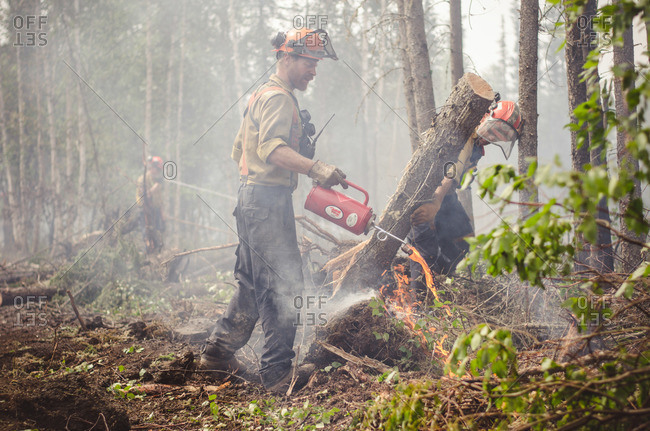 Alberta, British Colombia, Canada - July 16, 2015: Side view of member of Panorama Crew Services pouring liquid onto flames, Alberta, British Colombia, Canada