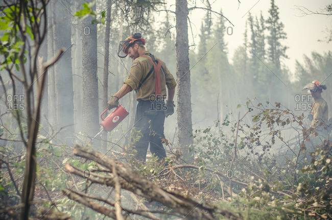 Alberta, British Colombia, Canada - July 16, 2015: Member of Panorama Crew Services pouring liquid onto flames, Alberta, British Colombia, Canada