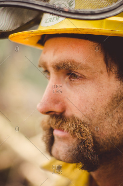 Alberta, British Colombia, Canada - July 16, 2015: Close up of a Panorama Crew Services member's face, British Colombia, Canada