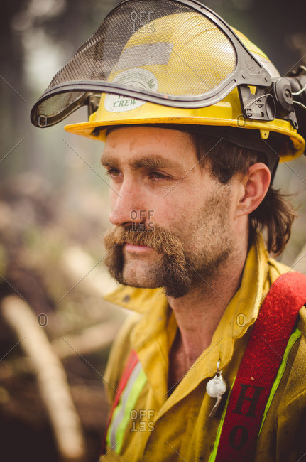 Alberta, British Colombia, Canada - July 16, 2015: Portrait of a Panorama Crew Services member's face, British Colombia, Canada