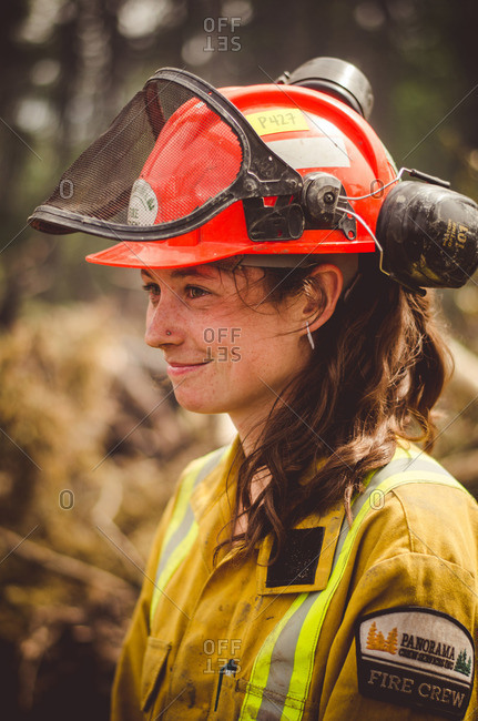 Alberta, British Colombia, Canada - July 16, 2015: Portrait of a female Panorama Crew Services member smiling, British Colombia, Canada