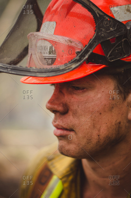Alberta, British Colombia, Canada - July 16, 2015: Close up of a Panorama Crew Services member covered in soot, British Colombia, Canada