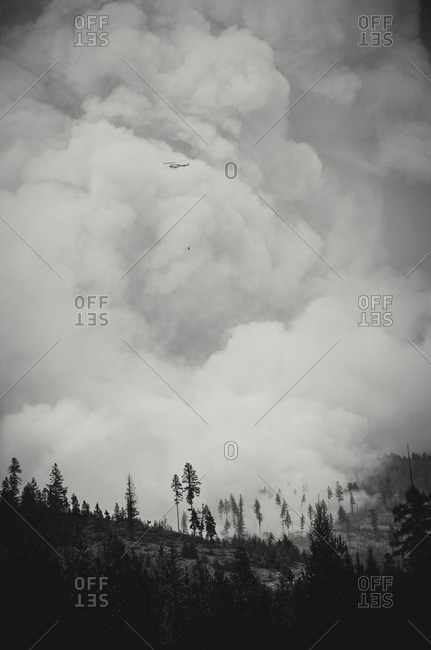 Black and white of huge clouds of smoke from forest fire, British Colombia, Canada