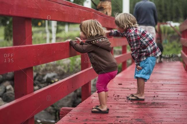 Two young children standing on a red painted wooden footbridge
