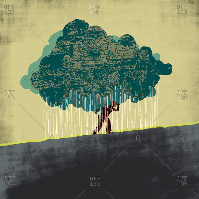 Man carrying a dark cloud uphill