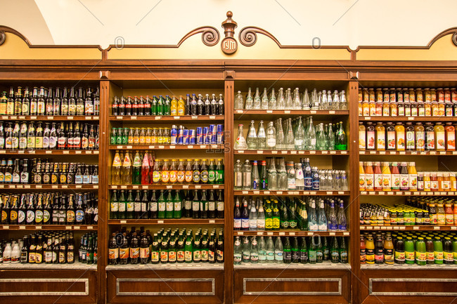 July 20, 2015: Beverages inside the GUM Department Store in Moscow, Russia