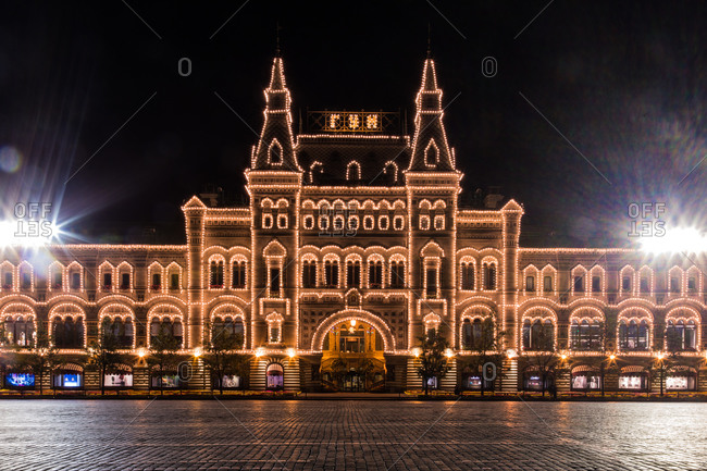 GUM department store at night in Moscow, Russia