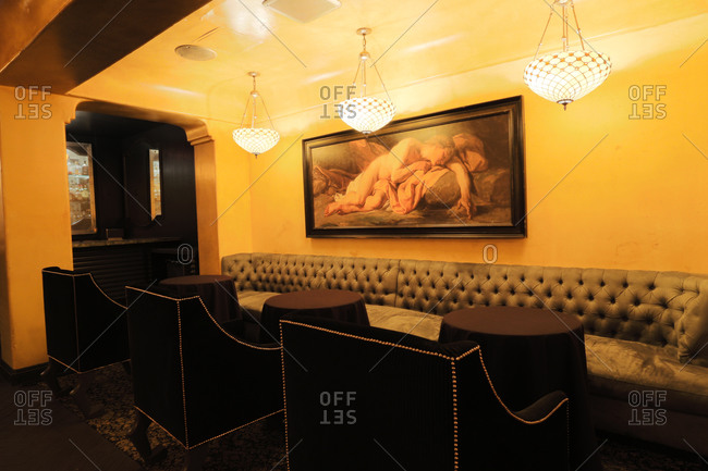Hollywood, CA - November 2, 2013: Posh interior of popular Hollywood nightclub