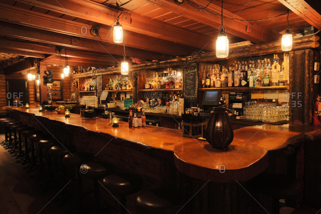 Los Angeles, CA - October 15, 2013: Interior of cabin-inspired bar in Los Angeles, California