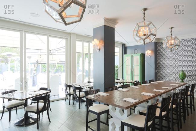 Santa Monica, CA - March 24, 2014: Interior of dining area in upscale restaurant