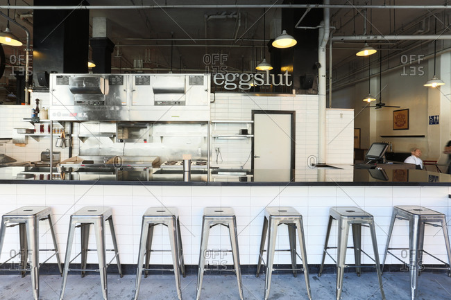 Downtown LA, CA - April 1, 2014: Exterior of hipster lunch restaurant at Grand Central Market in Los Angeles, California