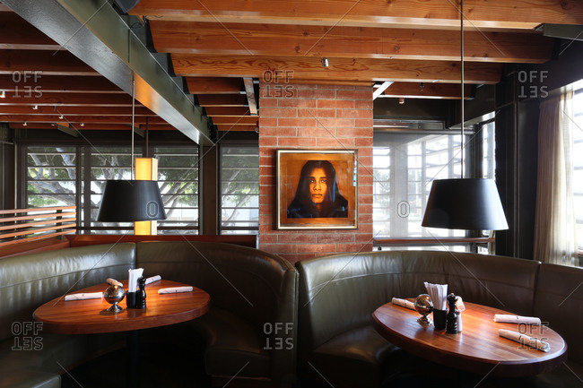 Santa Monica, CA - March 27, 2014: Interior dining area of upscale restaurant popular for business meetings in Santa Monica, California