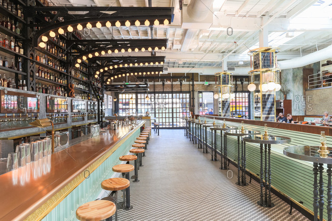 San Diego, CA - April 8, 2014: Interior of renovated warehouse turned into upscale seafood restaurant in Little Italy, San Diego