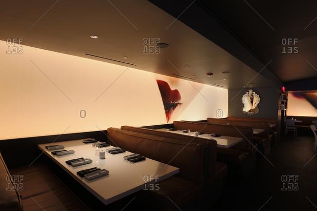 Los Angeles, CA - June 19, 2014: Interior dining area of sushi restaurant in Los Angeles, California