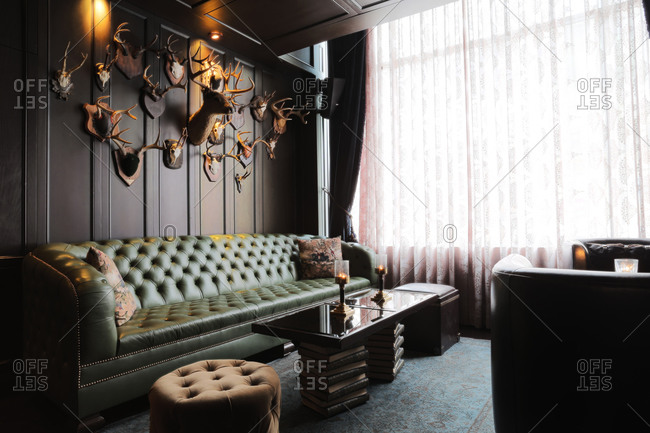 Los Angeles, CA   January 21, 2014: Interior Lounge Area Of Sophisticated  Gastropub In Hollywood, California Stock Photo   OFFSET
