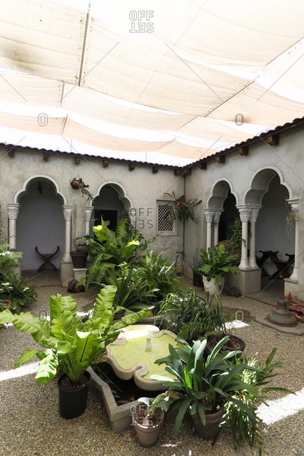 Culver City, CA - August 24, 2015: Outdoor patio garden of museum in Los Angeles