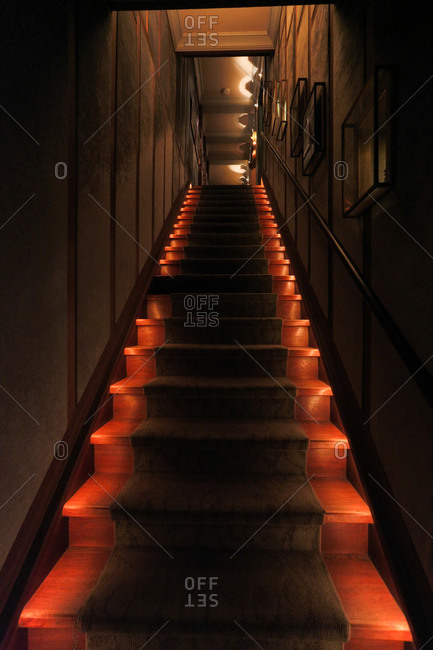 Culver City, CA - August 24, 2015: Interior stairway leading up to museum exhibit in Los Angeles