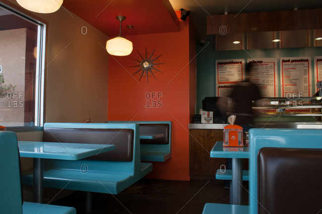 Silverlake, CA - May 18, 2013: Interior dining area of pizza restaurant in Silverlake, California