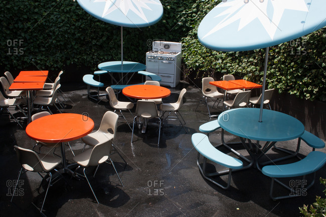 Silverlake, CA - May 18, 2013: Exterior dining area patio of pizza restaurant