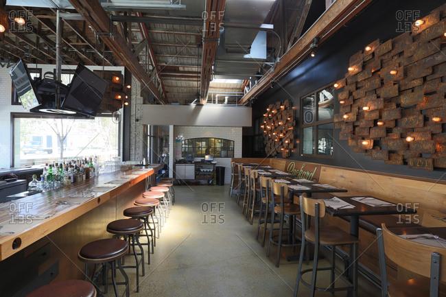 Anaheim, CA - April 10, 2014: Interior of hipster burger restaurant in Anaheim, California