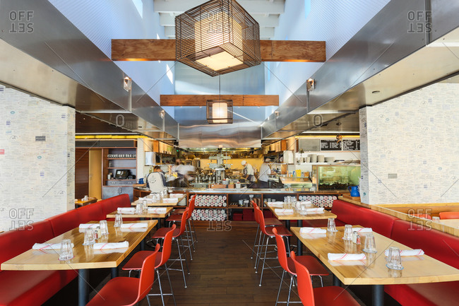 West Hollywood, Ca - March 18, 2014: Interior dining area of popular seafood restaurant in Seattle, Washington