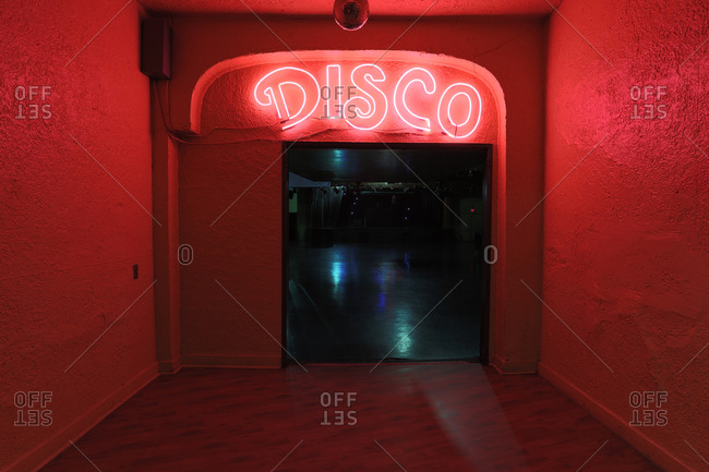 Los Angeles, CA - October 18, 2013: Interior entrance of dance floor of a popular nightclub for the gay black community