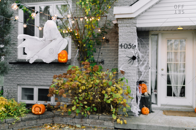 Suburban house with Halloween decorations