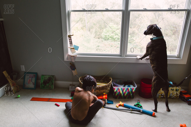 Boy playing with toys while his dog looks out the window