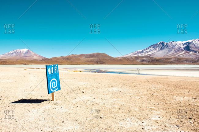 Wi Fi sign in deserted landscape of the Bolivian Altiplano, Potosi, Bolivia