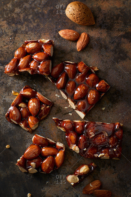 Homemade almond brittle and almonds