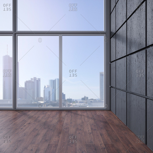 Empty room with wooden floor, concrete wall and view at skyline, 3D Rendering