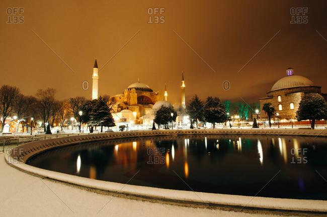 Snowstorm at night in Istanbul's Sultanahmet neighborhood