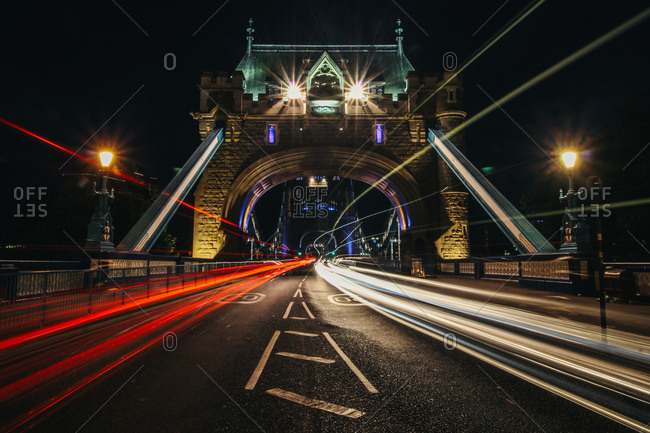 Swerving traffic as night falls in London, England