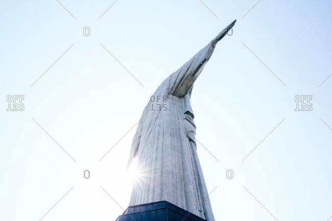 Rio de Janeiro, Brazil - August 7, 2015: Low angle view of Christ the Redeemer statue above Rio de Janeiro