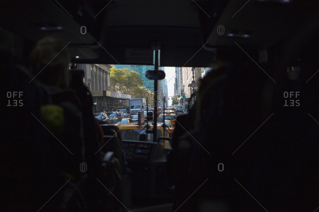 View from inside a city bus