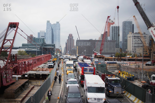 New York, NY, USA - October 9, 2015: Busy street with construction, New York, NY