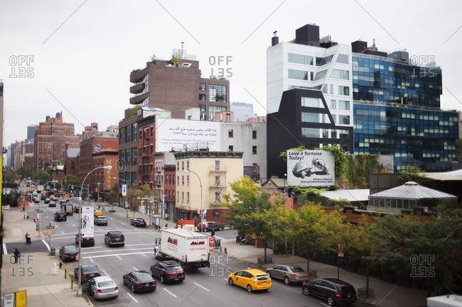 New York, NY, USA - October 9, 2015: Busy street in High Line, New York, NY