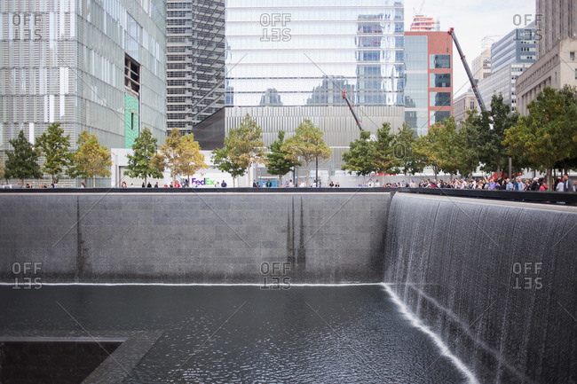 New York, NY, USA - October 9, 2015: National September 11 Memorial