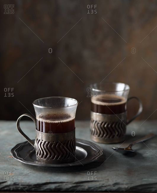 Studio shot of two cups of coffee