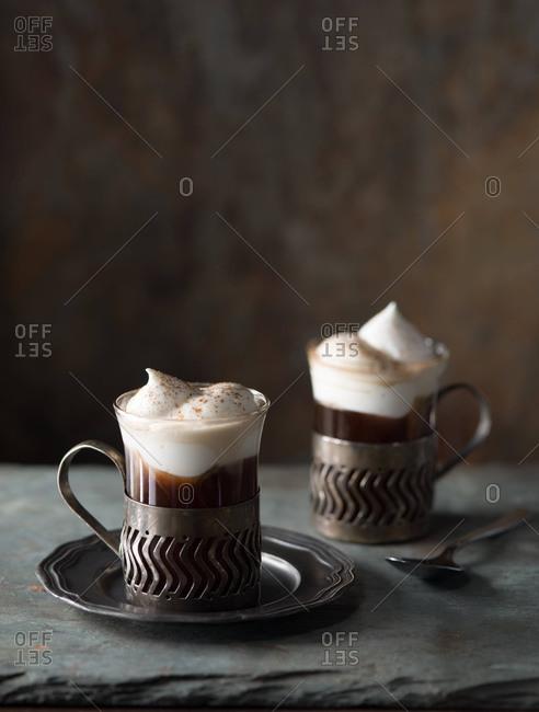 Studio shot of two Irish coffees