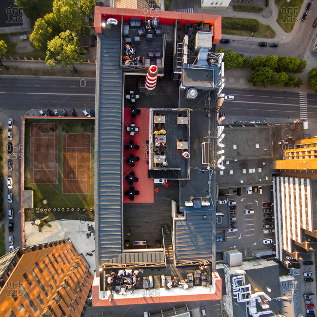 High-rise building's rooftop restaurant in Klaipeda, Lithuania