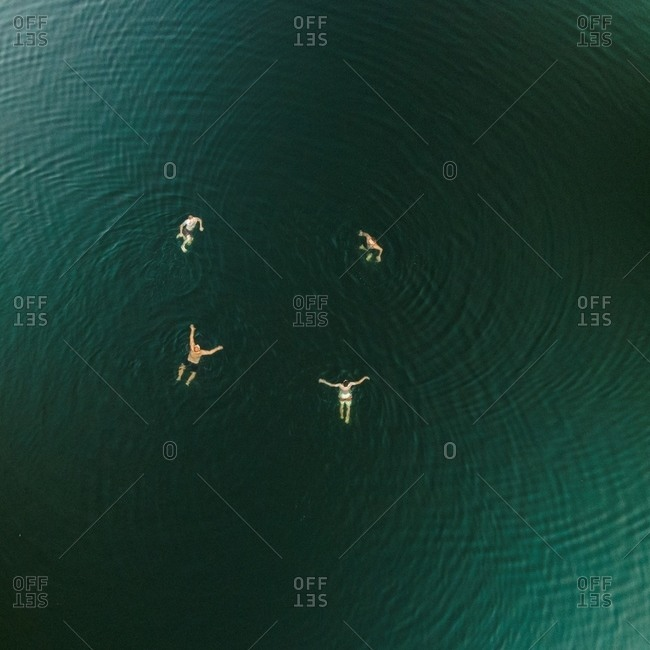 Swimmers floating in a large body of water