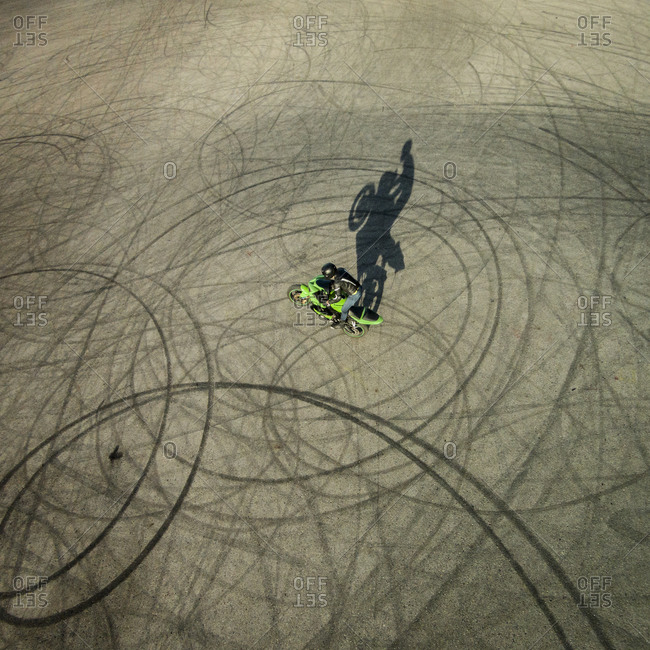 A motorcyclist up on one wheel in Vilnius, Lithuania