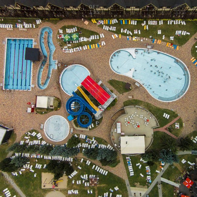 Besenova, Slovakia - August 5, 2015: Waterpark from above