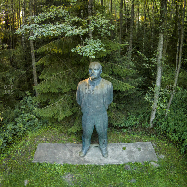 Druskininkai, Lithuania - August 5, 2015: Statue of Lenin in Grutas Park
