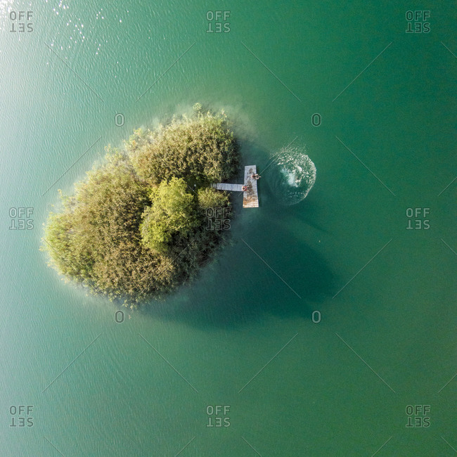 Island in Gela lake near Nemencine, Lithuania