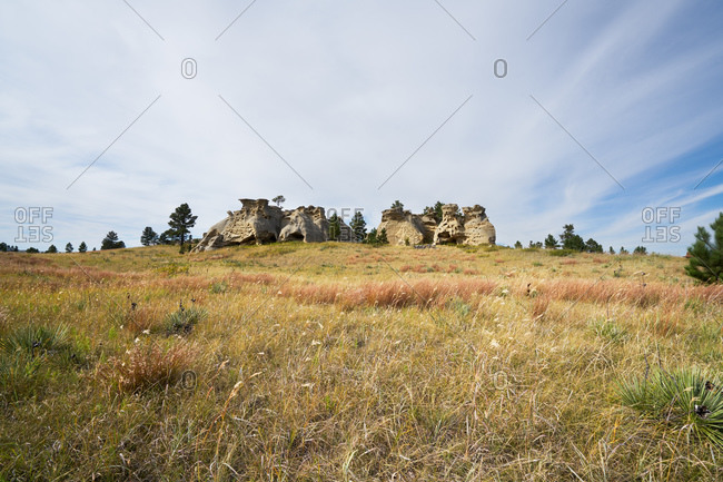 Field with eroded rock formations