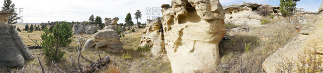 Panorama of eroded rock formations